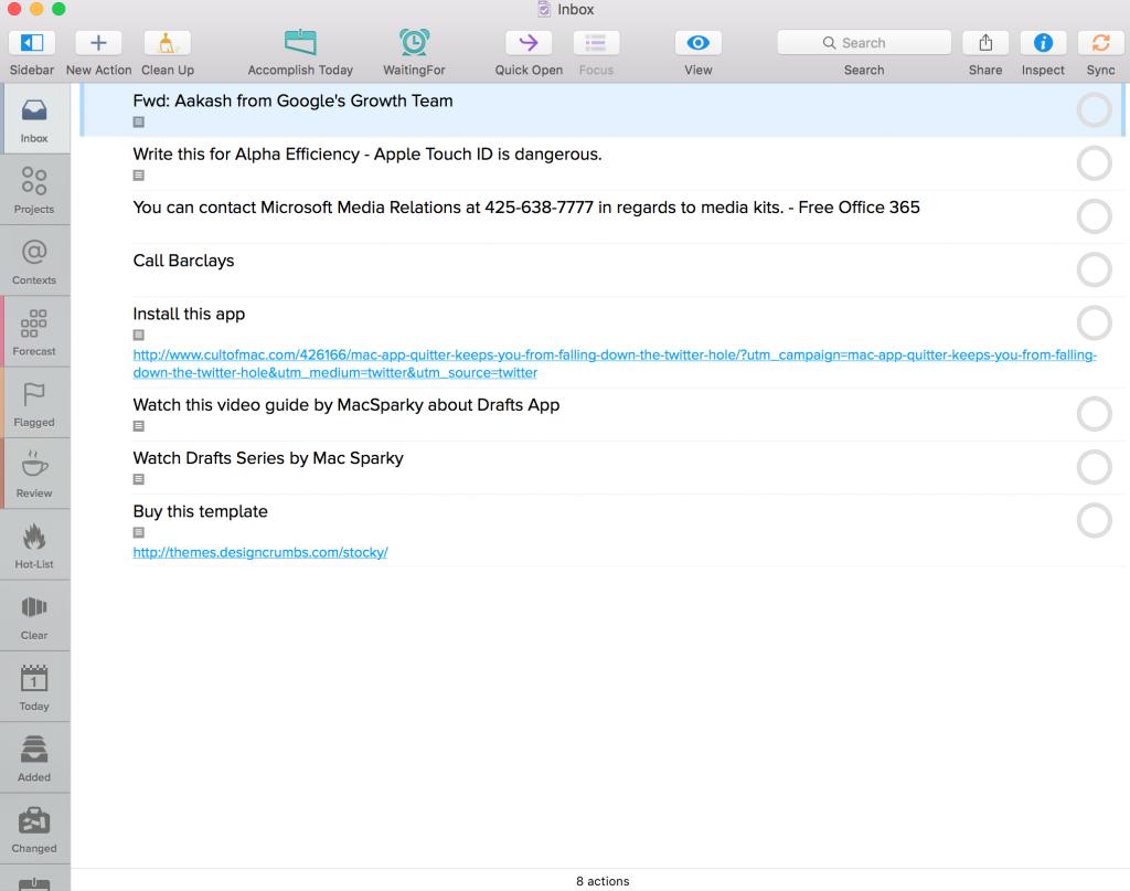 Omnifocus 2 Dashboard for OS X